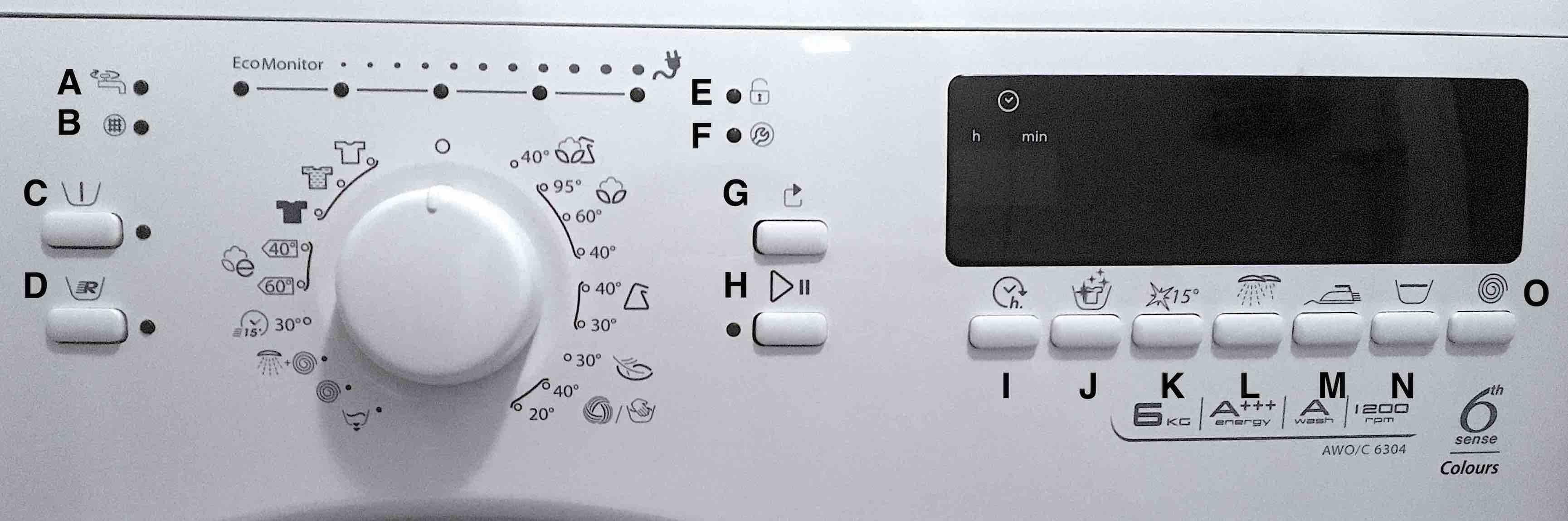 Fotografie funkcí a kontrolek pračky Whirlpool AWO/C 6304