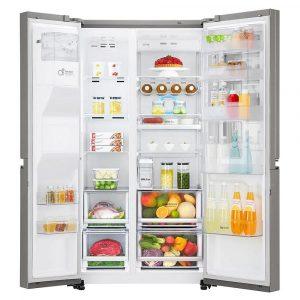 Vyobrazení vnitřního uspořádání americké lednice LG