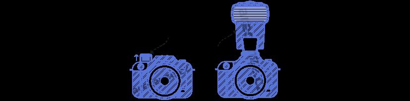 Znázornění druhů blesků u fotoaparátů