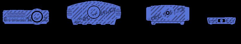 Znázornění druhů projektorů a rozdílů v jejich konstrukci