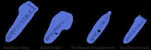 Vyobrazení čtyř druhů zastřihovačů