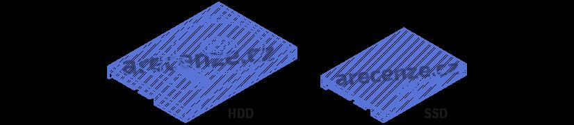 Ukázka dvou typů pevných disků. HDD a SSD disk