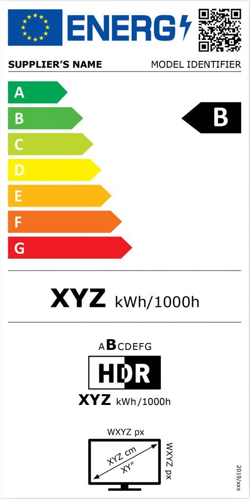 Zobrazení nového energetického štítku pro televizory