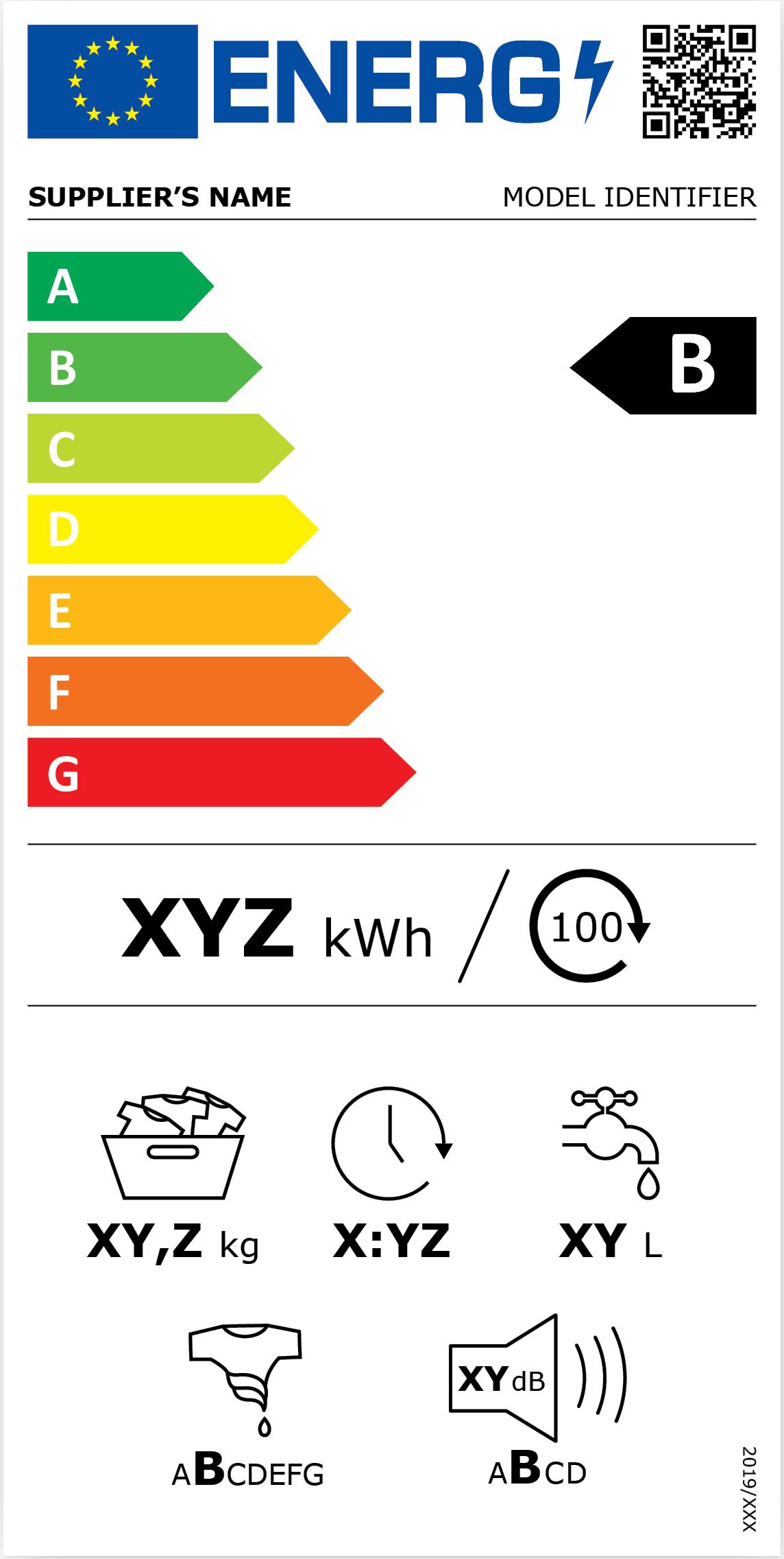 Zobrazení nového energetického štítku pro pračky