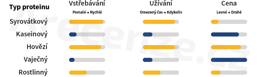 Srovnání jednotlivých druhů proteinů podle doby vstřebávání, doby užívání a ceny