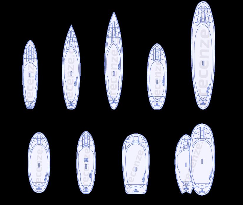 Vyobrazení různých druhů paddleboardů podle tvaru